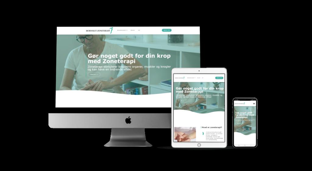 Billeder på skærme som viser kunders hjemmesider