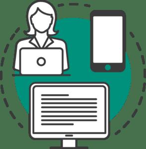 Kvinde med computer og en telefon og computer skærm